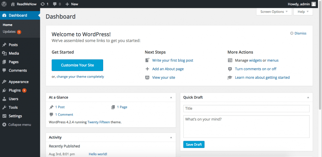 wordpress tutorial dashboard