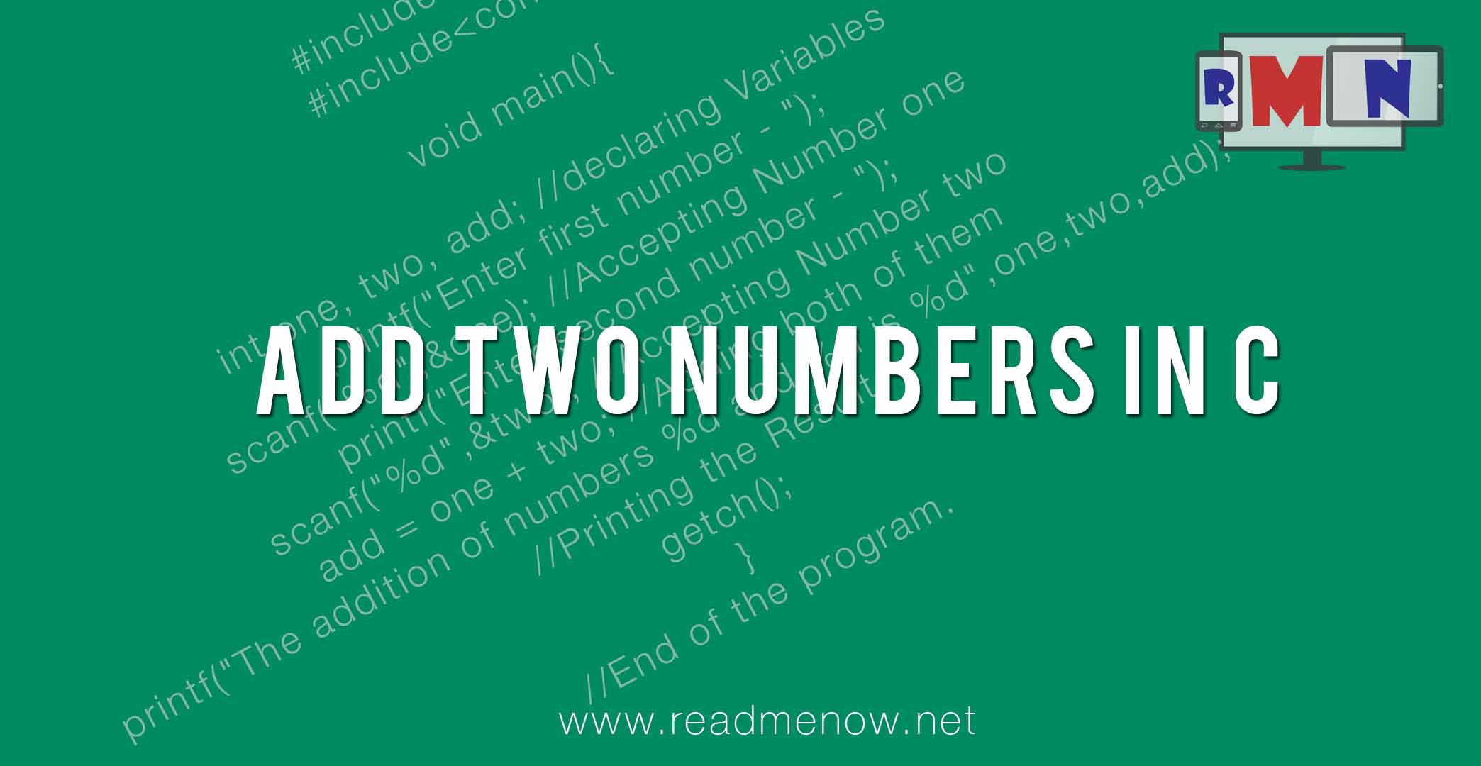 Add two numbers in C (with algorithm)