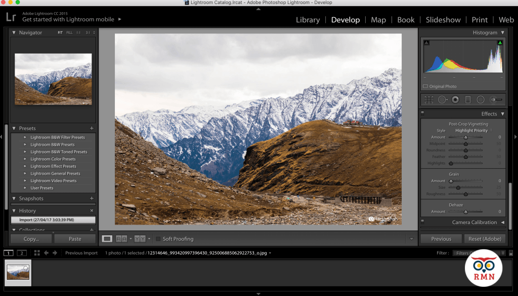 Develop Tab Lightroom
