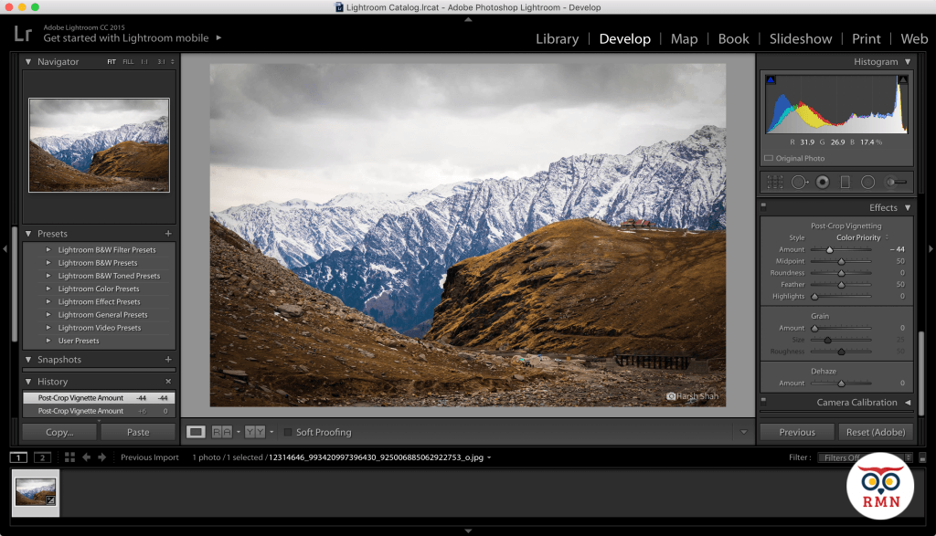Add Vignette Amount Lightroom