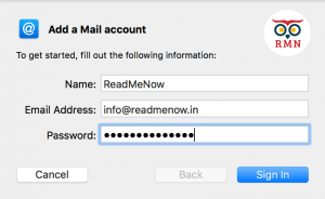 Apple Mail Add a New account