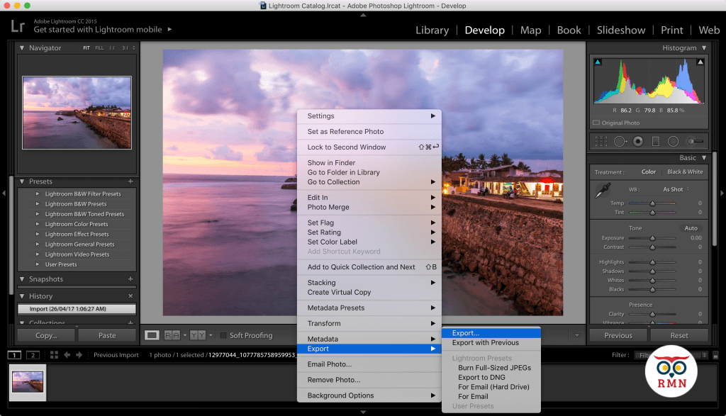 Export Image Lightroom