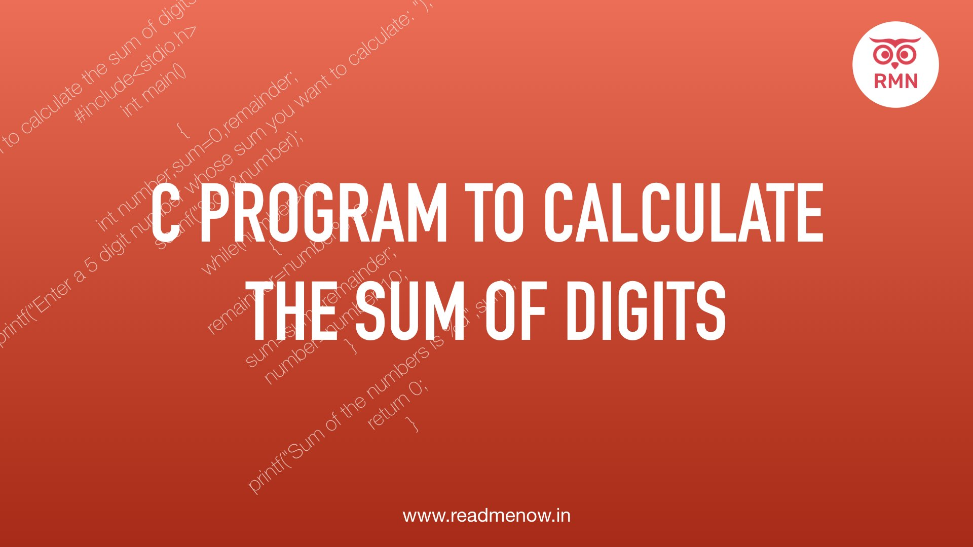 C Program to Calculate the Sum of Digits